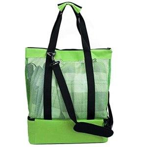 Edinber Sac de plage en maille, sac de pique-nique pour femme, compartiment de réfrigérateur, sac de pique-nique double couche, fermeture éclair, sac fourre-tout pour extérieur/camping/barbecue/voyage