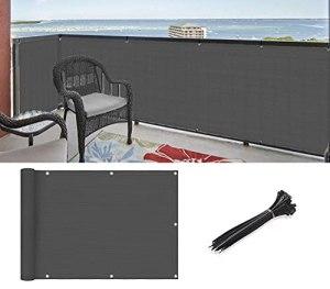 HUOMI Brise-vue pour balcon, terrasse, appartement, balustrade en maille résistante aux UV, gris foncé pour terrasse, extérieur, cour