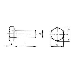 Inox Mare Vis à tête hexagonale avec filetage jusqu'à la tête DIN933, acier inoxydable A2, 70, filetage métrique