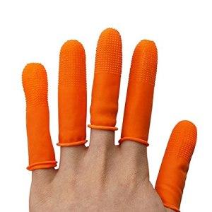 Jjsm Protège-doigts en silicone, réutilisable, environ 90 ~ 100 bouts de doigts en caoutchouc, gants de pistolet à colle chaude, coussinets pour compter, coller, coudre et cire