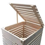 Lukadria Cache-poubelles en bois naturel avec paroi arrière Modèle HH (1 tonne) 120 à 240 l