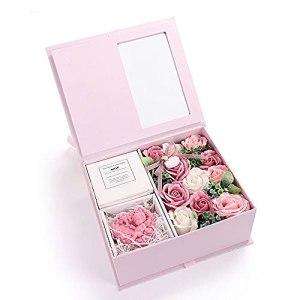 MAVL Radeau Fete des Meres Naturelle Boite Roses eternelle petale de Rose eternels Artificielle, Simulation Faux Fleurs dans Une boîte Luxe, Saint Valentin, journée mères, Anniversaire