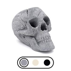 OSKER Brasero en céramique ignifuge en forme de tête de mort pour feu de camp, cheminée, foyer   Décoration d'Halloween   pour gaz, propane ou feux de bois   22,9 cm – Gris