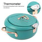 Poêle à frire, marmite durable vert foncé, avec thermomètre pour la cuisine à la maison