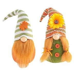 Thanksgiving Gnome Doll Orange Autumn Faceless Plush Figures Fall Harvests Dwarfs Ornaments 2PCS