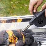 Ventilateur d'air de cuisson extérieur, ventilateur d'air de barbecue portable avec contrôle manuel de la vitesse et lame de ventilateur en métal pour le barbecue extérieur ci-dessous, pique-nique