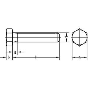 Vis à tête hexagonale Dresselhaus 8.8 avec filetage total – DIN 933 – M5 x K5 – Galvanisés