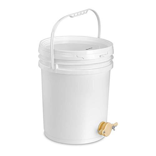 Wiesenfield Maturateur À Miel Seau Plastique Avec Robinet Apiculture WIPB-20 (20 l, Robinet À Clapet, Couvercle, Anse, Plastique)