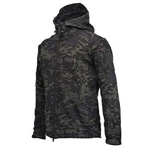 YYNN Mens Outdoor Waterproof Military Tactical Jacket – Warm Fleece Soft Shell Hooded Hiking Gear (L,Black Camouflage)