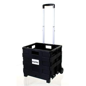 ZYY Marko Storage Solutions 25 Kilogramme Grand Heavy Duty Shoping Panier Chariot plastique Roues Caisse pliable voiture Camping pliant