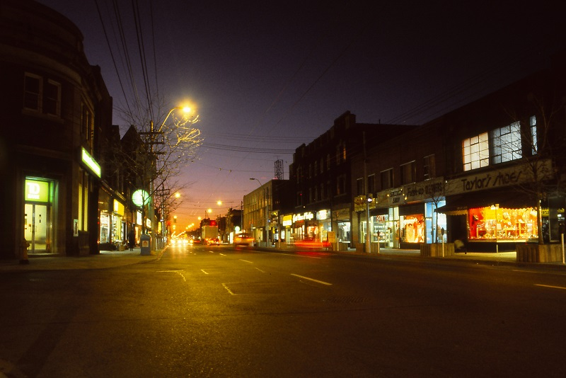 night, Dundas West, Toronto, 1984,