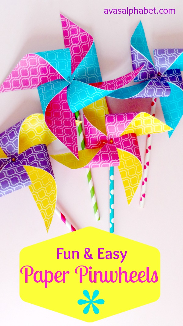 Fun and Easy Paper Pinwheels from Ava's Alphabet