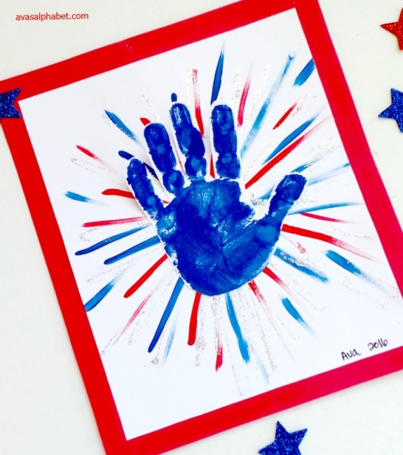Handprint Fireworks from Ava's Alphabet
