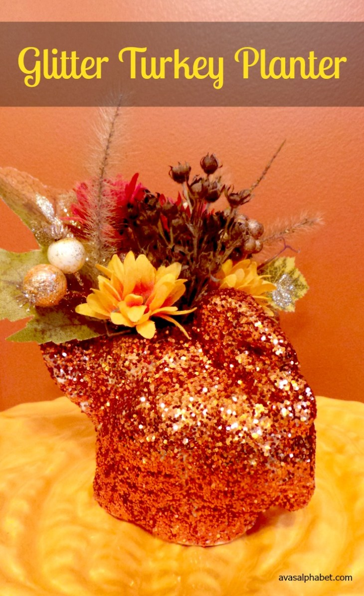 Glitter Turkey Planter