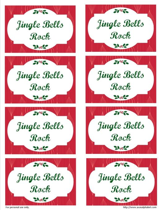 Free printable Jingle Bells tag from Ava's Alphabet