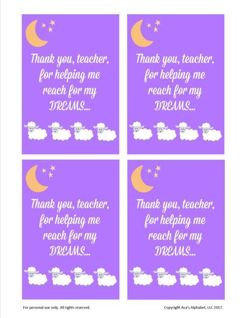 Reach for my Dreams Teacher Appreciation Gift from Ava's Alphabet