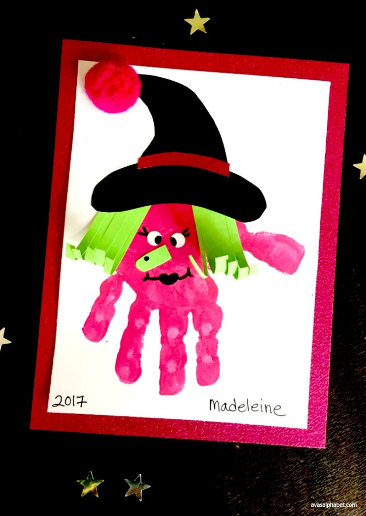 Pink Witch Handprint Art from Ava's Alphabet