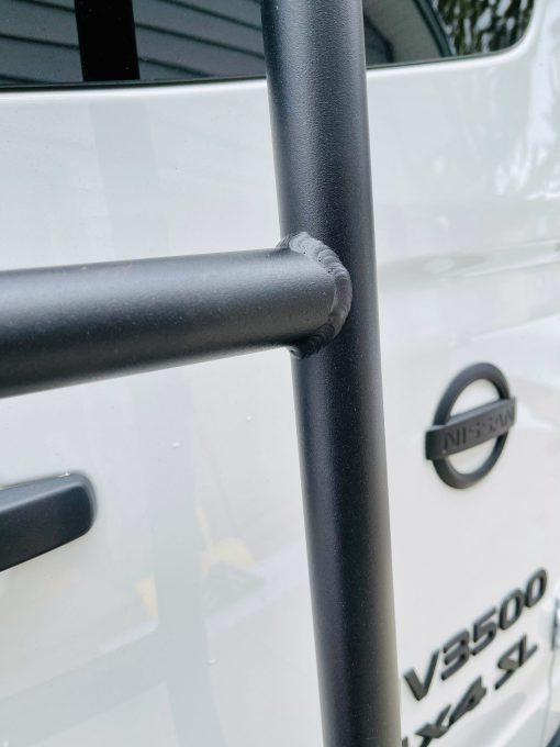 Up close image of NV3500 rear ladder by Avatar Metal Works