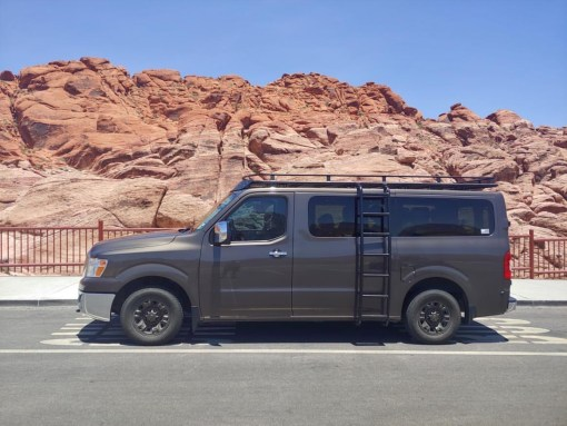 Nissan NV3500 with Avatar roof rack and side ladder