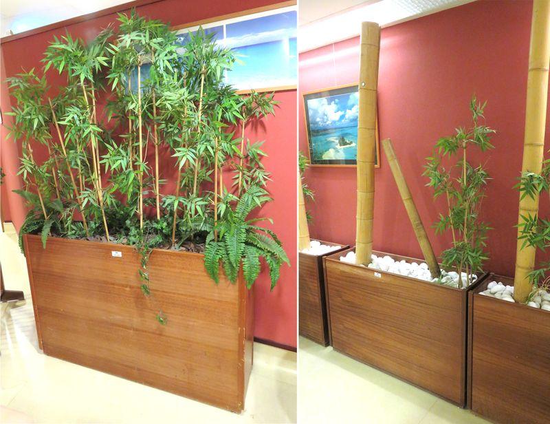 jardiniere en bois comportant des bambous artificiels 2 modeles diferents 78 x 120 x 35 cm hauteur