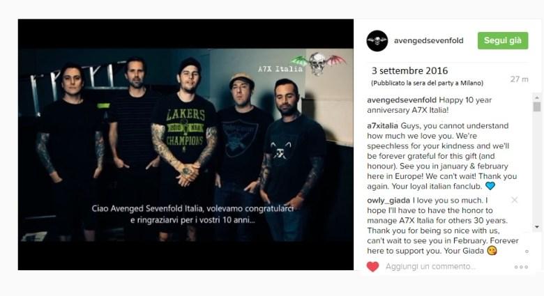 video 10 anni instagram band