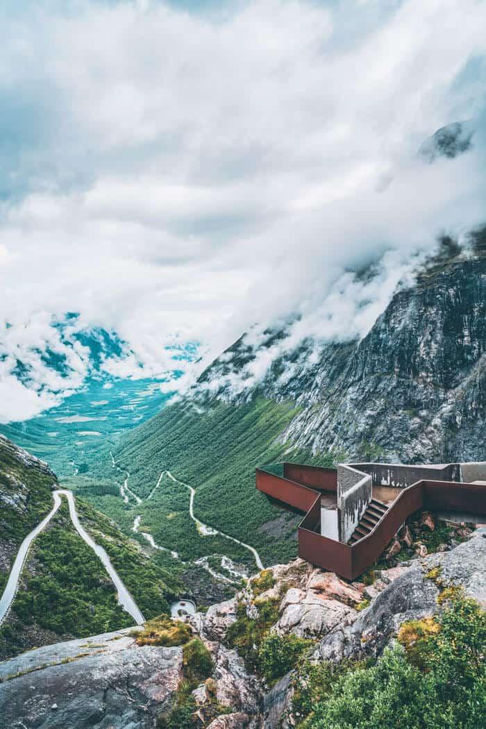 """The """"Troll's Ladder"""", Trollstigen Mountain Road."""