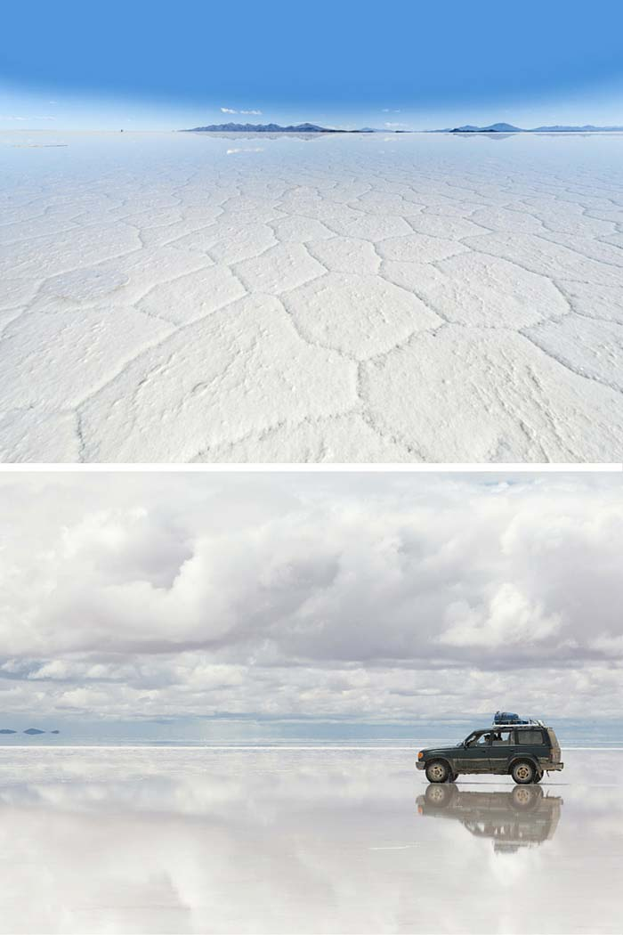 Salar de Uyuni in Bolivia are not only the world's largest salt flats, but when it rains they turn into a giant mirror. 20 UNREAL Travel Destinations you have to see!! Click through to read the full post!