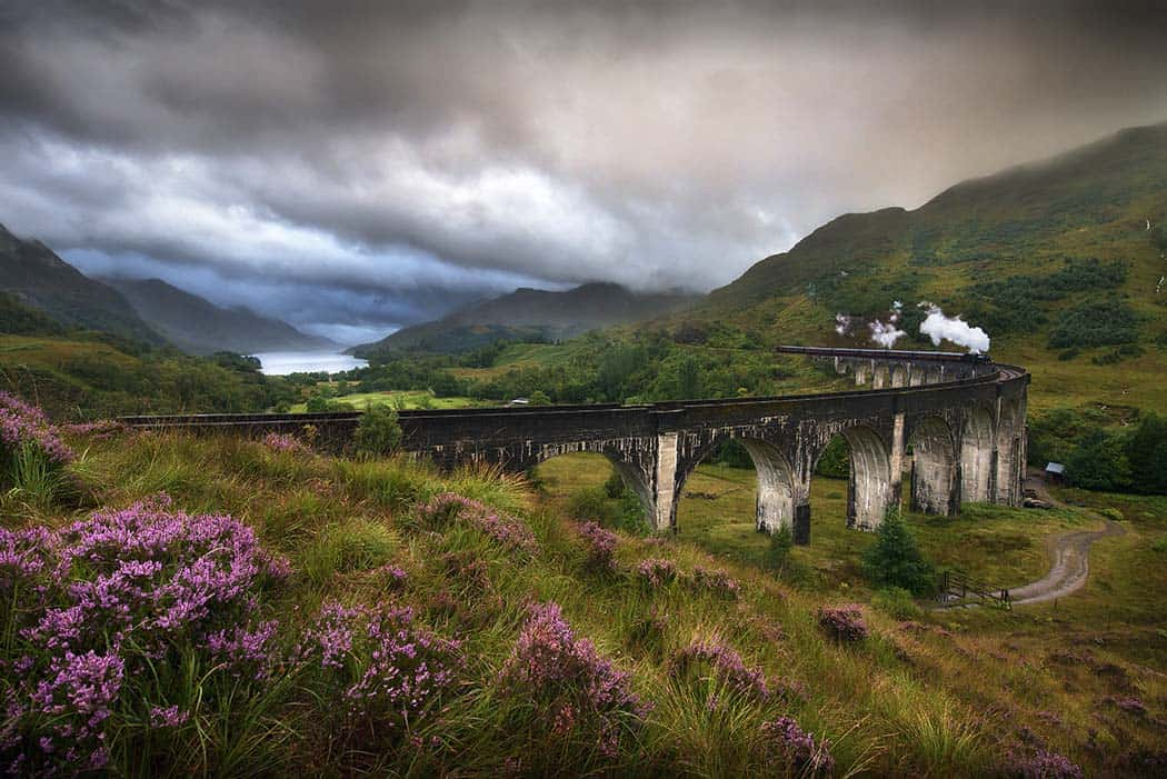Glefinnan viaduct Scottish Highlands United Kingdom in a stormy day! Click through to see 28 mind blowing photos of Scotland!
