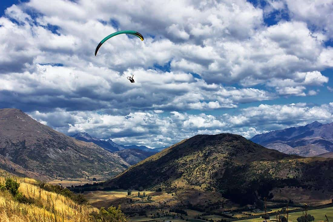Paragliding in the Crown Range, New Zealand