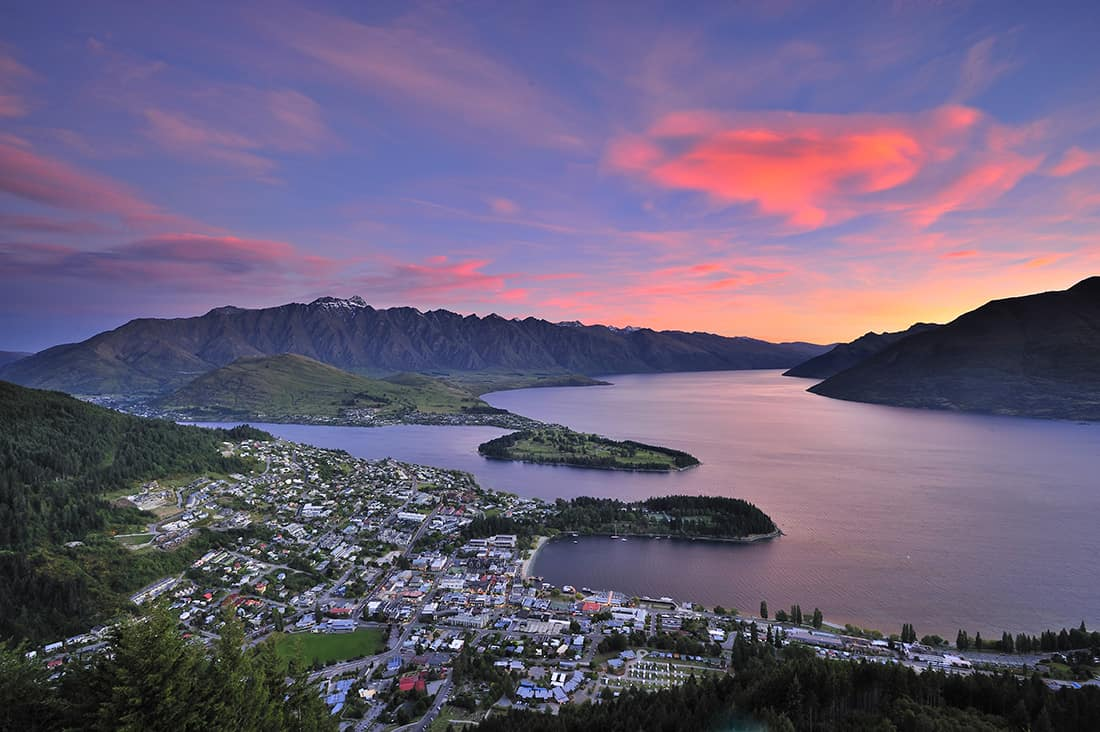 View of Queenstown, New Zealand at dusk from Skyline.