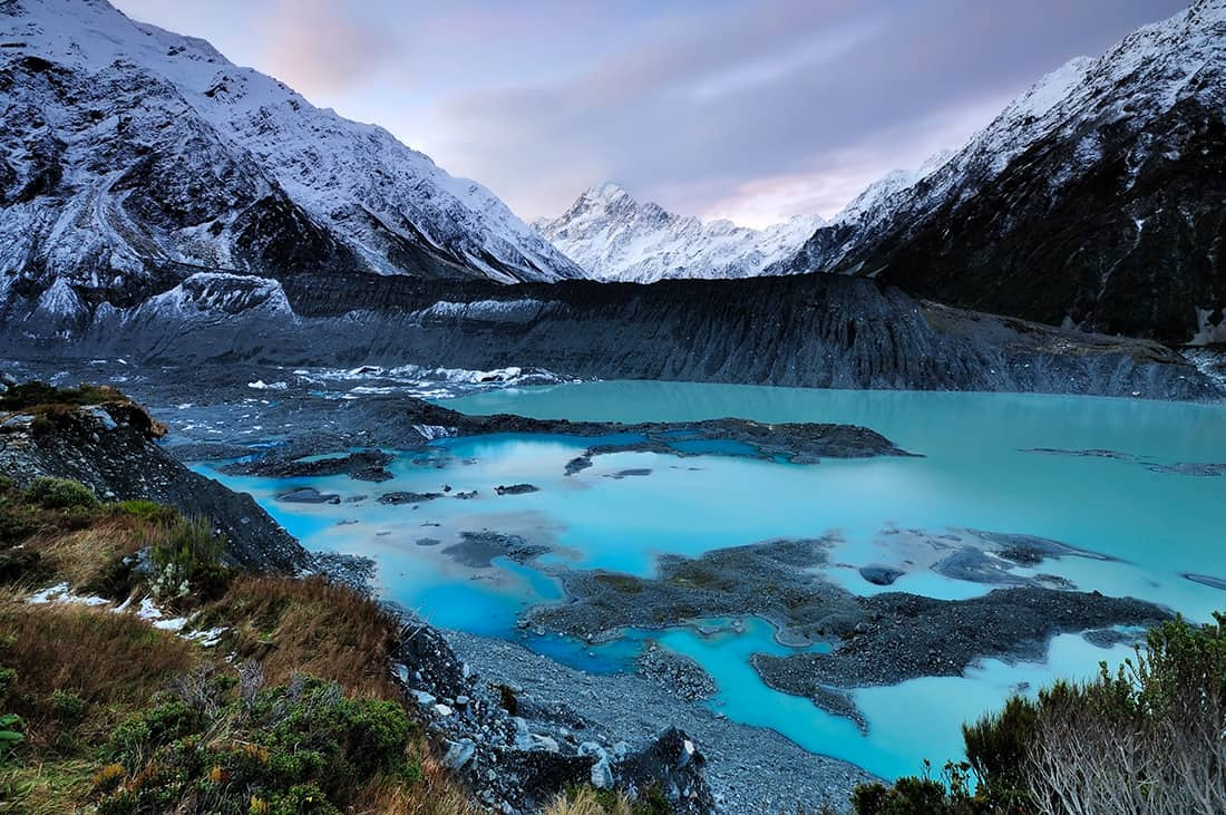 Sunset and dusk over mt. Cook in South Island, New Zealand. Its a famous scenic destination.