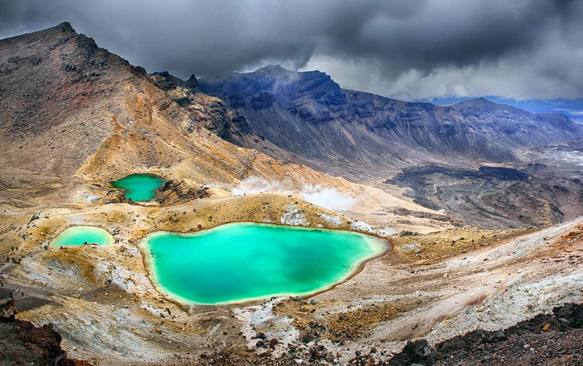 View at beautiful Emerald lakes on Tongariro Crossing track, Ton