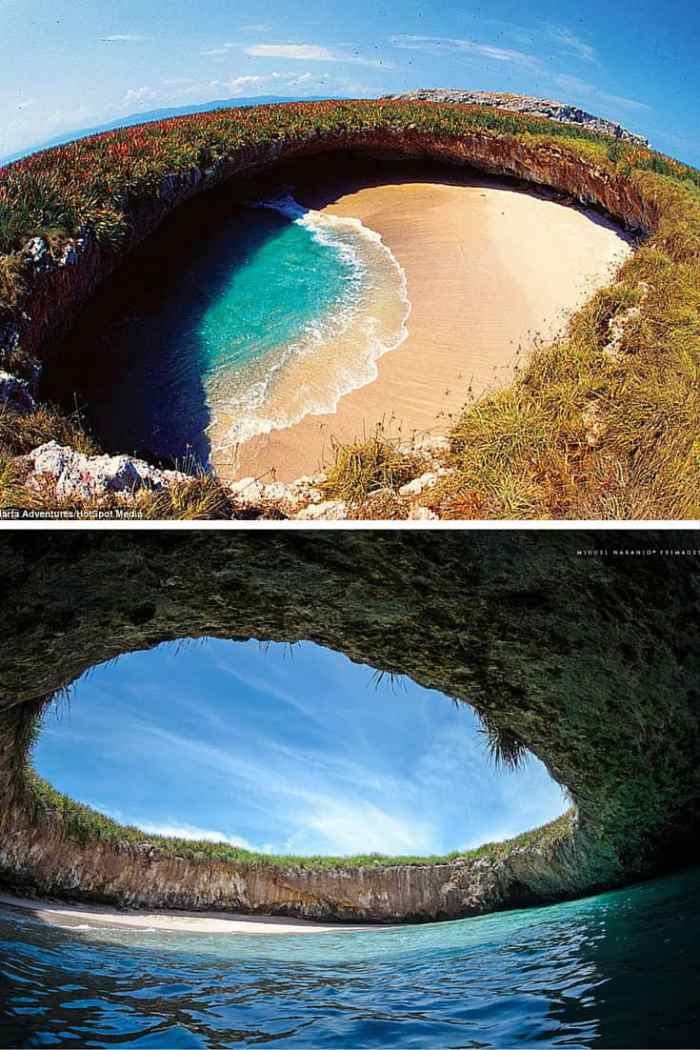 Hidden Beach – Marieta Islands, Mexico. Ever been to a beach with giant ice cubes all over? Or what about a reandom hole in the ground that opens up into a beautiful beach! Click through to see 15 more of the world's most unique & awesome beaches!