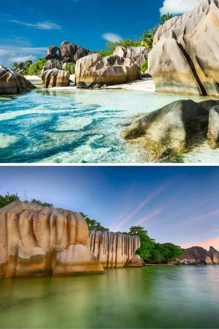 Anse Lazio, Praslin, Seychelles. Ever been to a beach with giant ice cubes all over? Or what about a reandom hole in the ground that opens up into a beautiful beach! Click through to see 15 more of the world's most unique & awesome beaches!