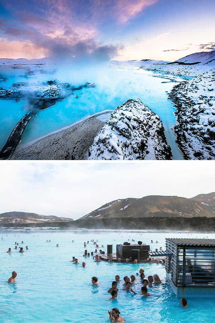 Blue Lagoon - Grindavík, Iceland! This geothermal spa is one of Iceland's most famous tourist spots. Even though Iceland can be extremely cold, this pool is heated by water bubbling up from the center of the earth into the middle of a cooled lava field.