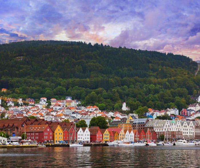 Famous Bryggen street in Bergen.