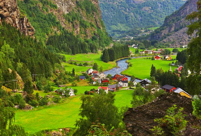 The small village of Flam in the Aurlandsfjord.
