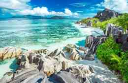 Seychelles Beaches! Beaches on La Digue island. The third largest island in the Seychelles.
