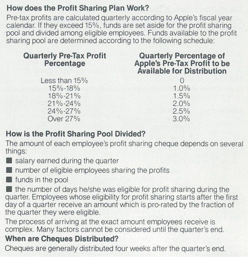 Apple 1984 profit sharing Plan