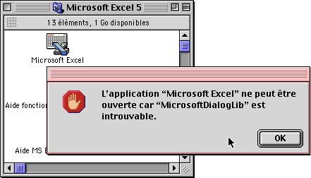 Blocage du démarrage d'Excel faute d'extension MicrosoftDialogLib