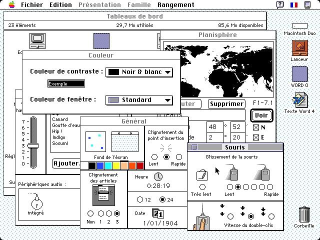 Macintosh Tableau de bord