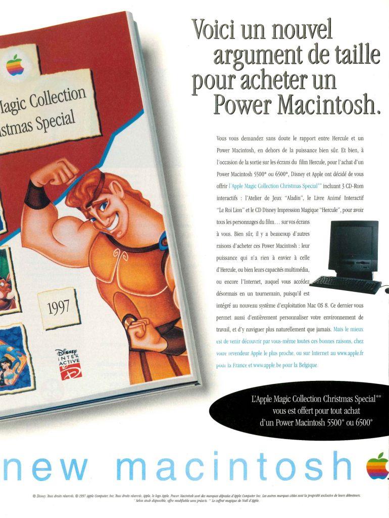 Publicité Apple PowerMacintosh Disney Hercule