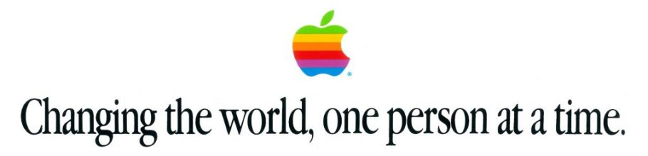Apple bumper sticker Changing the world, one person at a time