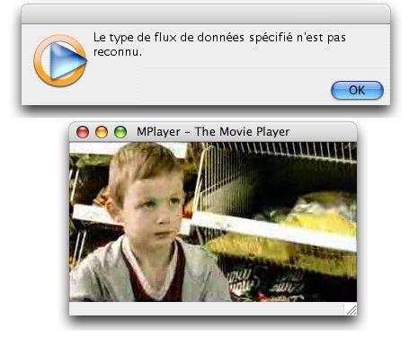 Vidéo ouverte dans Windows Media et MPlayer