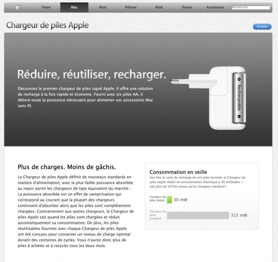 Chargeur de piles AA d'Apple, le site web