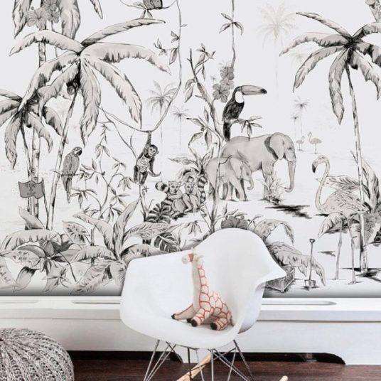 Papier peint tropical, noir et blanc pour chambre d'enfant