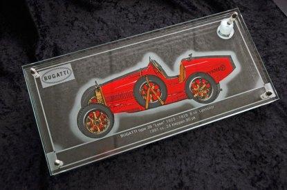 """Harry Ravers, """"Bugatti"""", zeefdruk, handgeschilderd, verguld en gestraald"""".Vliegtuig"""