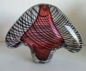 "Melvin Andersn, ""Red Bird"", Nationaal Glasblazerij Leerdam, hoog 27, breed 35 cm."