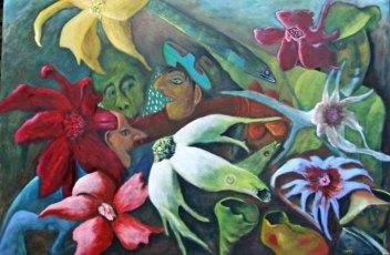 """Anne-Maria Waterreus, """"Gezien vanuit he acquarium"""", olieverf op linnen, 120 x 80 cm."""