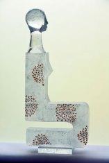 """Beata Stankiewicz-Szczerbik, """"Ani"""", kiln cast glass, grounded, polished, 30x65x7 cm, 15 kg."""